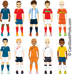 Collection set of soccer players in different national team uniforms