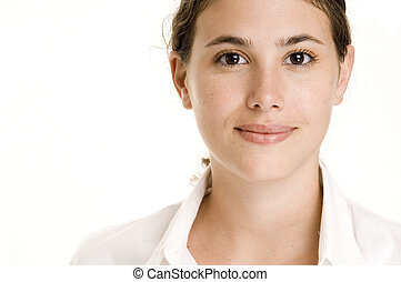 A beautiful and natural young woman in white on white