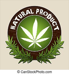 natural product marijuana vector label