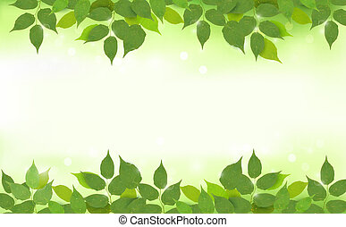 Nature background with green fresh leaves. Vector illustration