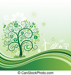 environment icon and tree, green flow background