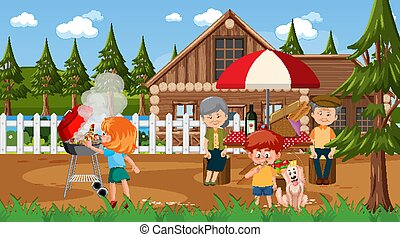 Nature outdoor scene with happy family having a picnic