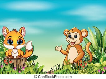 Nature scene with a baby fox standing on tree stump and monkey