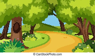 Nature scene with road in the woods