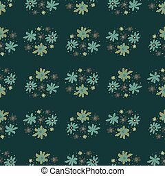 Nature seamless abstract botanic pattern with cartoon blue and green flowers. Dark background.