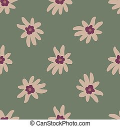 Nature seamless pattern with pink pale flowers ornament. Green background.