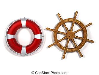 Life buoy and ship navigation wheel - 3d render illustration