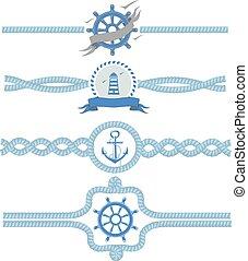 Nautical rope vector borders. Dividers vintage design frame illustration