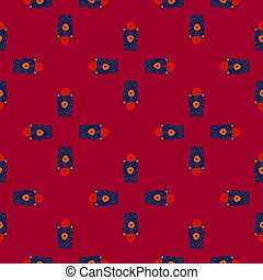 Navy blue colored bear characters in hats seamless pattern. Doodle style. Maroon dark background.