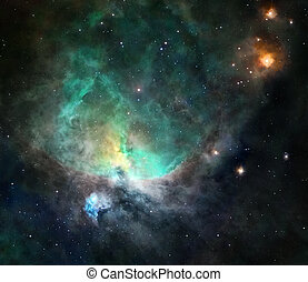 Bizarre bright nebula glowing in deep space