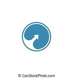 Negative space arrow in a blue circle logo template