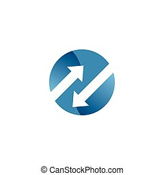 Negative space arrow in a circle logo template