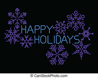 neon light style happy holidays sign