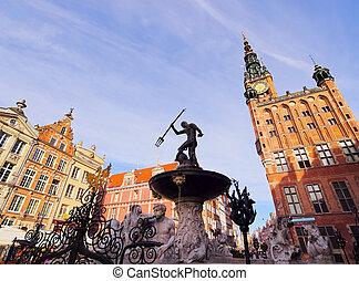 Fountain of Neptune on the Dlugi Targ Street in Gdansk, Poland