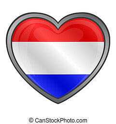 Netherlands Flag Heart Glossy Butto