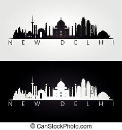 New Delhi skyline and landmarks silhouette