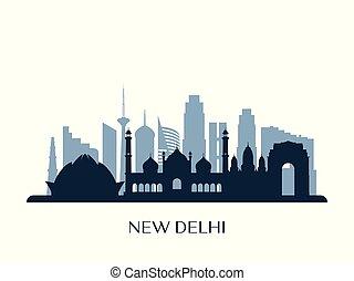 New Delhi skyline, monochrome silhouette.