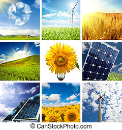 New energy concept with collage of various photo
