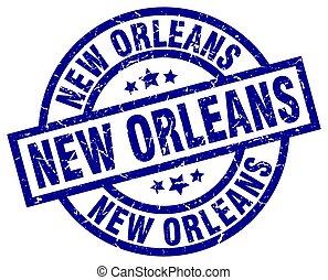New Orleans blue round grunge stamp