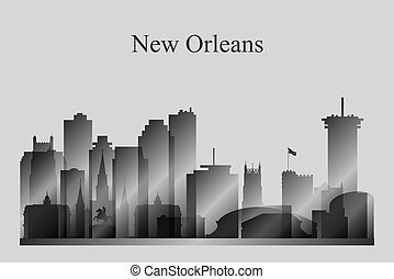 New Orleans city skyline silhouette in grayscale