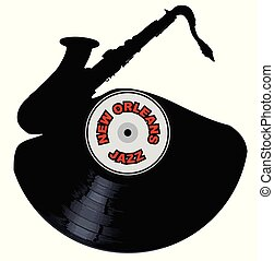 A vinyl LP record with a jazz saxophone cutout shape with the legend New Orleans Jazz all isolated on a white background
