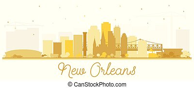 New Orleans Louisiana City Skyline Silhouette with Golden Buildings Isolated on White.