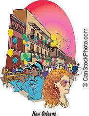 Mardi Gras celebration on Bourban Street in New Orleans Louisiana.