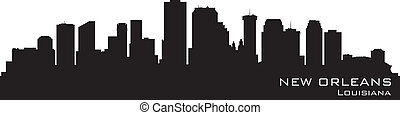 New Orleans, Louisiana skyline. Detailed vector silhouette