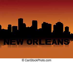New Orleans skyline at sunset