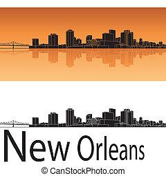 New Orleans skyline in orange background