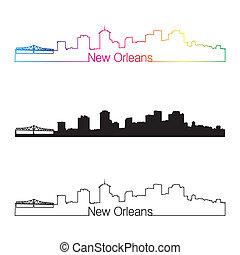 New Orleans skyline linear style with rainbow