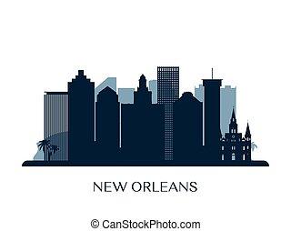 New Orleans skyline, monochrome silhouette.