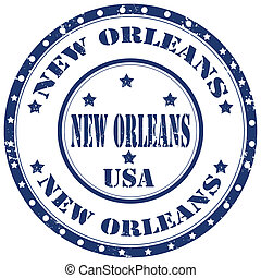 Grunge rubber stamp with text New Orleans, vector illustration