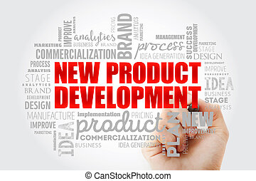 New product development word cloud collage