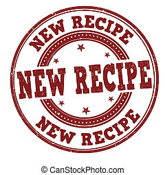 New recipe grunge rubber stamp on white, vector illustration