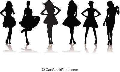 new set of various beautiful model girls in dress. Lady girls