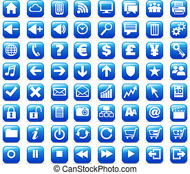 64 multimedia and web icons designed to be recognizable at a very small size