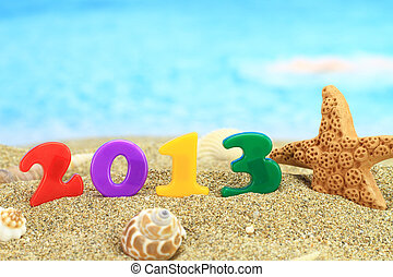 New year 2013 on the beach