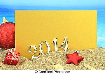 New year 2014 card on the beach