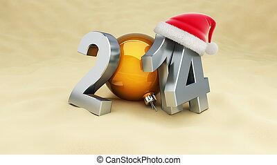 new year 2014 on the beach, santa hat