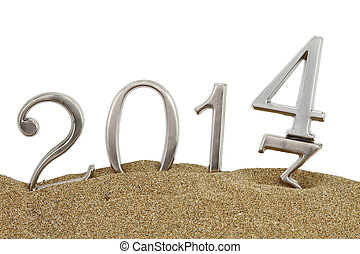 New year 2014 on the sand