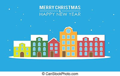 New year and merry christmas greeting card. Snowy city