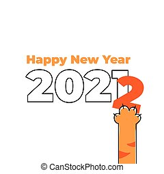 New year card with date and tiger paw