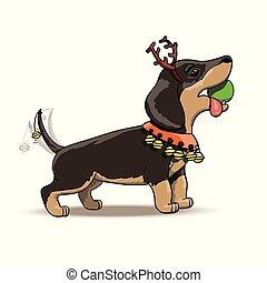 New Year Cartoon Dachshund Puppy Santa Deer