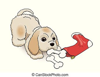 New Year Eve Sock Present for Cocker Spaniel Puppy. Cartoon Fluffy Cute Character