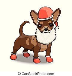 New Year Santa Chihuahua Smiling Cartoon Character Illustration
