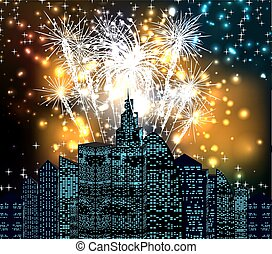 new year with fireworks night