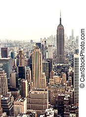 New York City Manhattan skyline aerial view with Empire State building