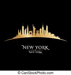 New York city silhouette black background