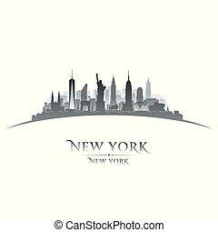 New York city silhouette white background